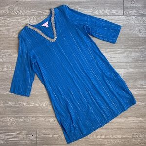 Lilly Pulitzer Royal Blue & Gold Tunic Coverup S